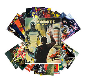 Postcards-Pack-24-cards-Robots-SciFi-Vintage-Space-Horror-Movie-Posters-CC1002