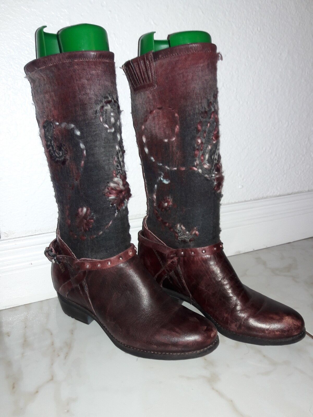 Bunker new Knit Women Size 40 red Brown burgundy  Boot fabric leather