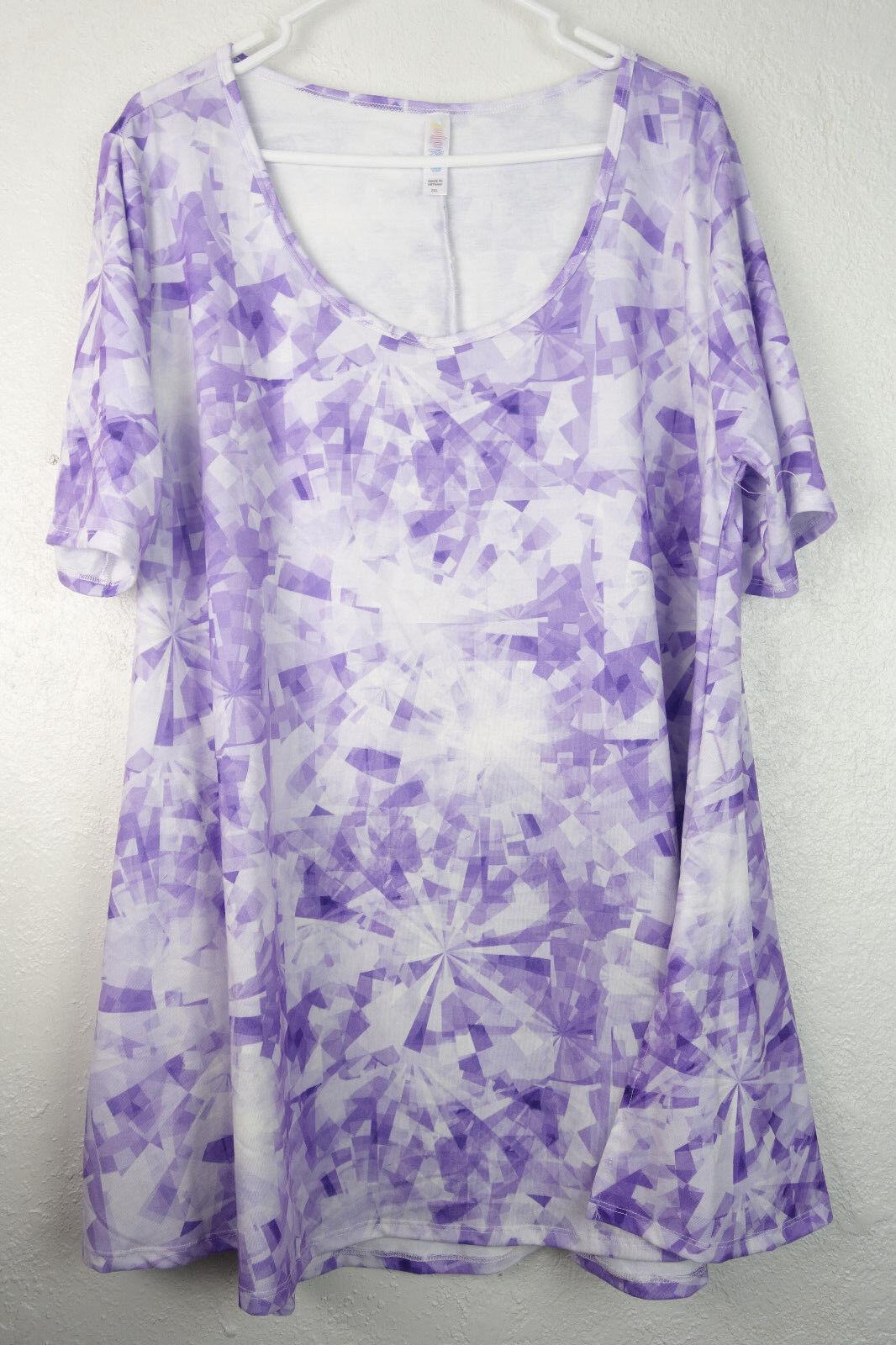 Lularoe Top Shirt Short Sleeve Tunic Flare Purple White Womens Plus 2 2XL