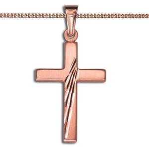 Frauen Kreuz Anhänger Kommunion Baby Taufe mit Kette Silber 925 Rosègold Rotgold