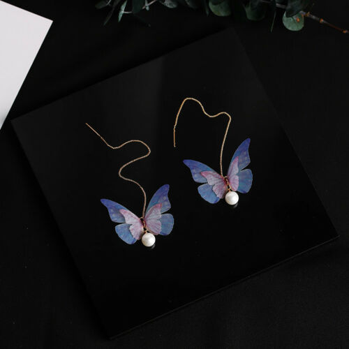 Long Tassels Rhinestone Women/'s Double Layers Butterfly Hook Linear Earrings UK