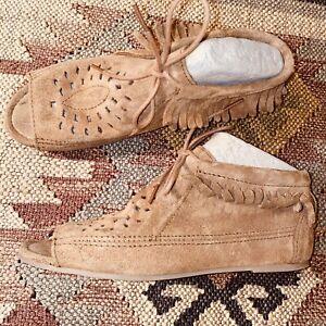 Size-8-MINNETONKA-MOCCASINS-Suede-Fringed-Peeptoe-Hippie-Chukka-Booties-Sandals