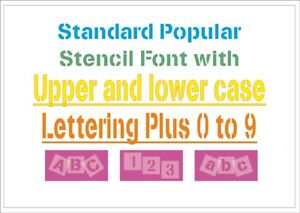 Upper-amp-or-Lower-case-Letter-Stencil-Tiles-or-Sheet-350-Micron-Mylar-FONT014