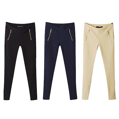 Hot Women Mid Waist Zip Long Casual Trousers Long Pencil Pants Tight Black Khaki