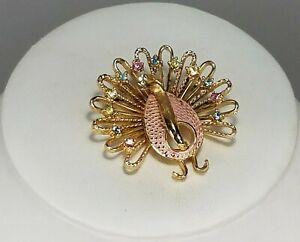 Vintage-Peacock-Brooch-Pink-Enamel-Pastel-Rhinestones-Faux-Pearls-Gold-Tone