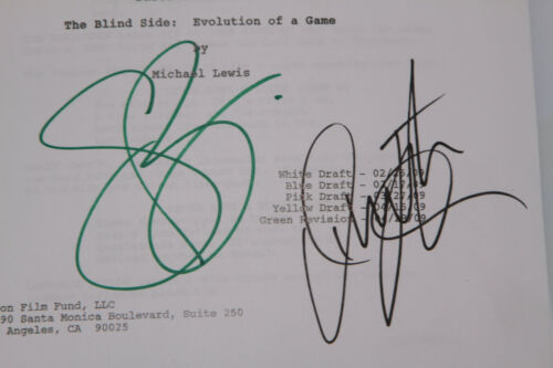 THE BLIND SIDE signed script Sandra BULLOCK Lily COLLINS Tim McGRAW AARON OHER