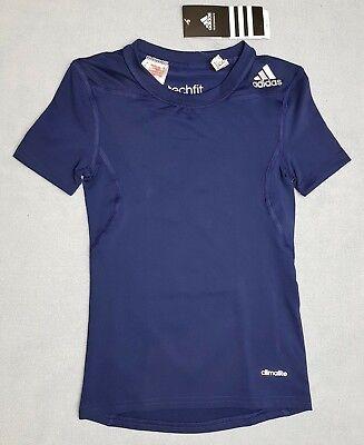 Genuine Adidas Techfit  Boys Base Layer Short  Sleeve Top Navy 7-14 Years