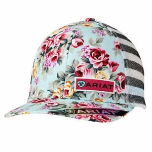 efde656e06576 Ariat Womens Hat Baseball Cap Floral Straped Patch Snap Multi Color ...