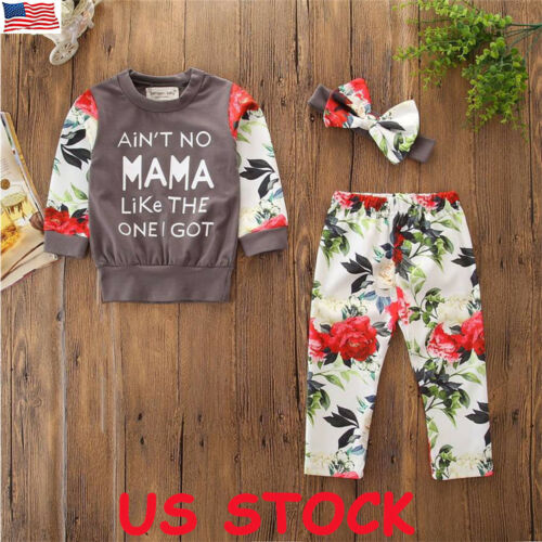 US Toddler Kids Baby Girl Floral Tops Pants Leggings 3Pcs Outfits Winter Clothes