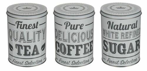 Thé Sucre Café Boîtes de Rangement Cuisine Pots Set Shabby Chic Rétro Vintage