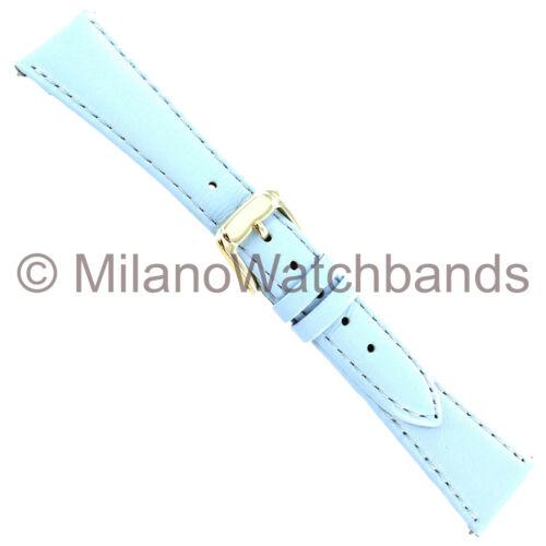 18mm Speidel Light Blue Genuine Stitched Calfskin Ladies Band 1075 187 EZ PINS