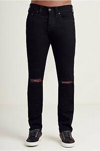 251caf3dc True Religion Mens Rocco Skinny W RIPS Jeans Black SZ 34X34 NWT ...