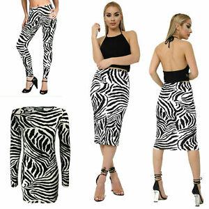 Nouveau-Femme-Imprime-Zebre-Legging-Midi-robe-jupe-Fashion-Costume-Grande-Taille-8-22