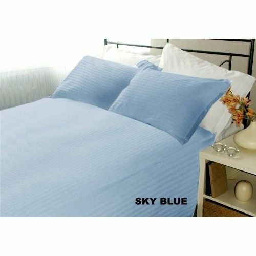 Awesome Bedding Collection 100/% Egyptian Cotton US Sizes Sky Blue Stripe Color