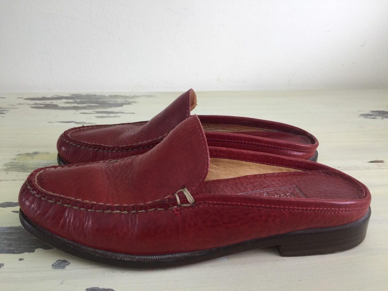 COLE HAAN COUNTRY - Womens Red Leather Slip-on Backless Loafer shoes, Sz 7 B