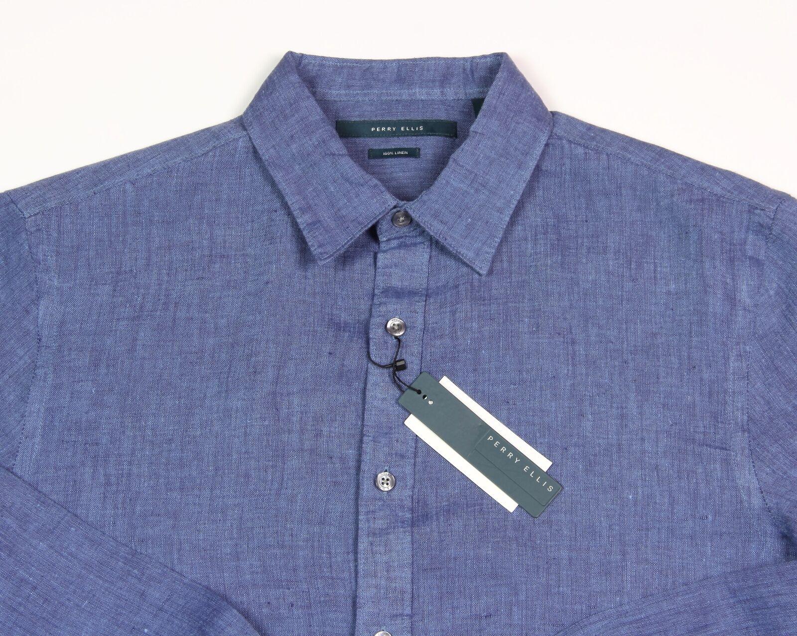 Men's PERRY ELLIS Delft bluee Pure Linen Shirt L Large NWT NEW -3025PS