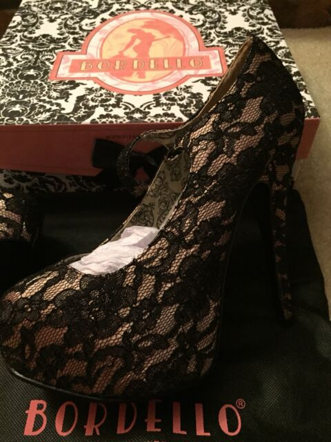 BORDELLO High Heel Satin Womens Platform Shoes Black Lace