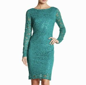 4cf50c4f Marina Emerald Sequined Long Sleeve Lace Dress Sz 12 $149 NWT | eBay