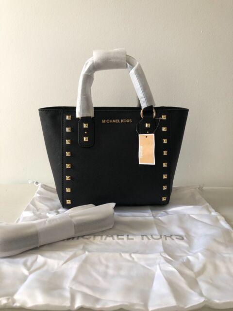 factory highly praised 2019 clearance sale Michael Kors Sandrine Stud Small Crossbody Leather Handbag (Black)