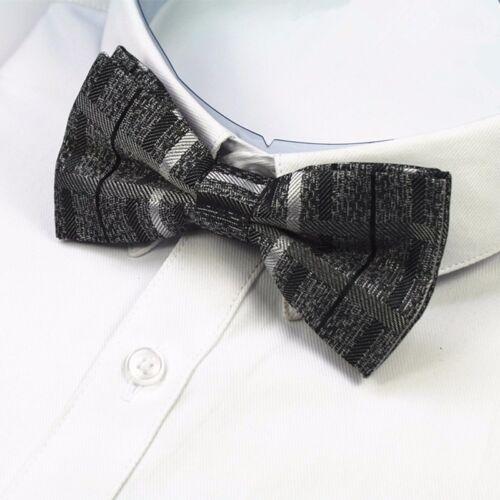 Various Grey Shades Striped Black Textured Bow Tie Pre-tied Adjustable Wedding