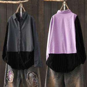 Mode-Femme-Loisir-Coton-Coture-Manche-Longue-Bande-Revers-Chemise-Haut-Plus