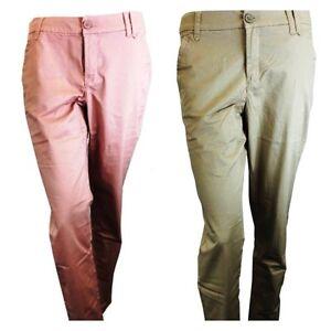 6871d7d2ef720 Womens Ladies Chino Trousers Cotton Blends khaki pink long pant Plus ...