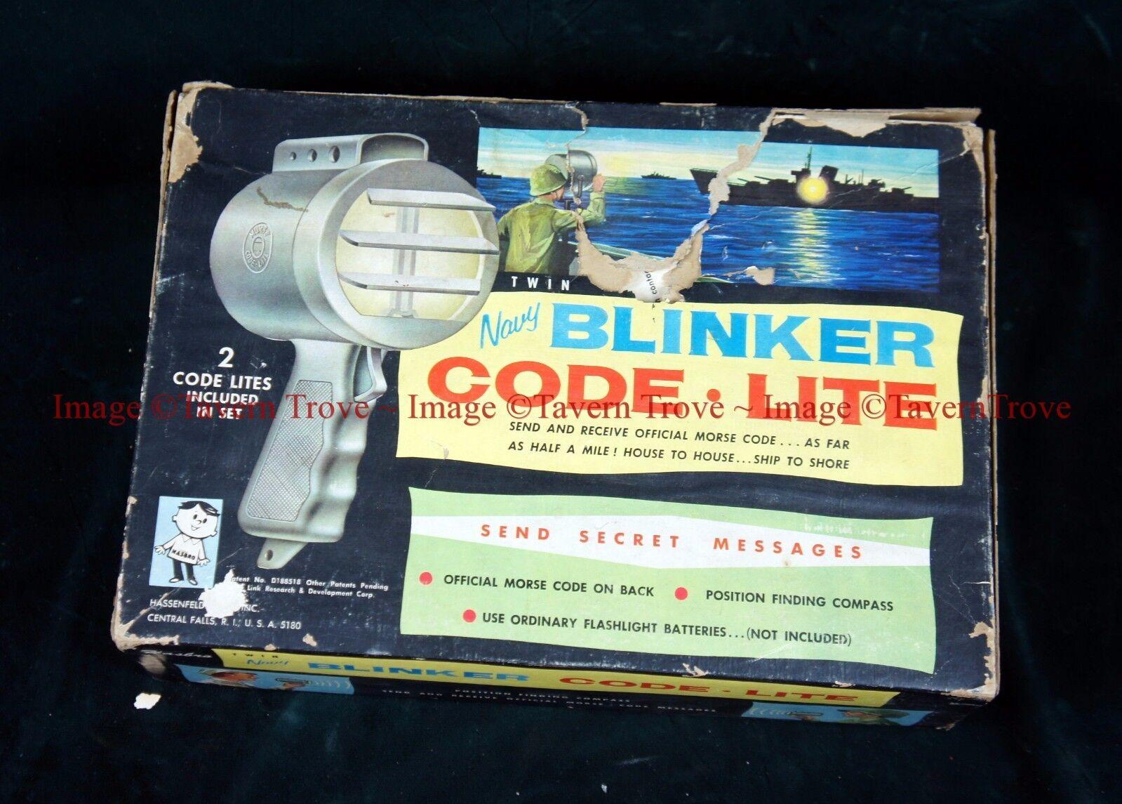 Rare 1950s Hassenfeld Bros US NAV Y Set Blinker Code Lite Set Y Light toy 682193