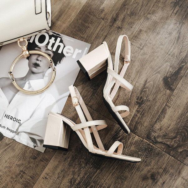 Sandales femmes chaussons talon carré beige élégant 7.5 cm confortable 9761