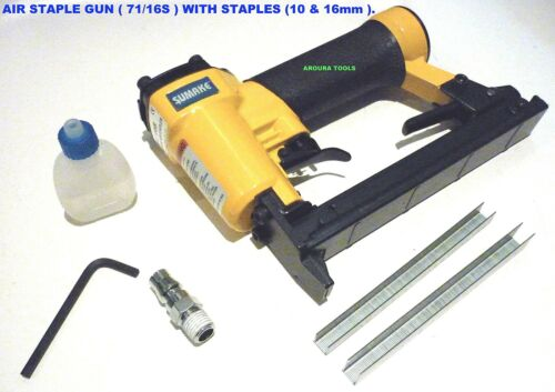 AIR POWERED STAPLE GUN 7116S WITH 15,000 STAPLES 10 & 16mm NEW IN BOX.