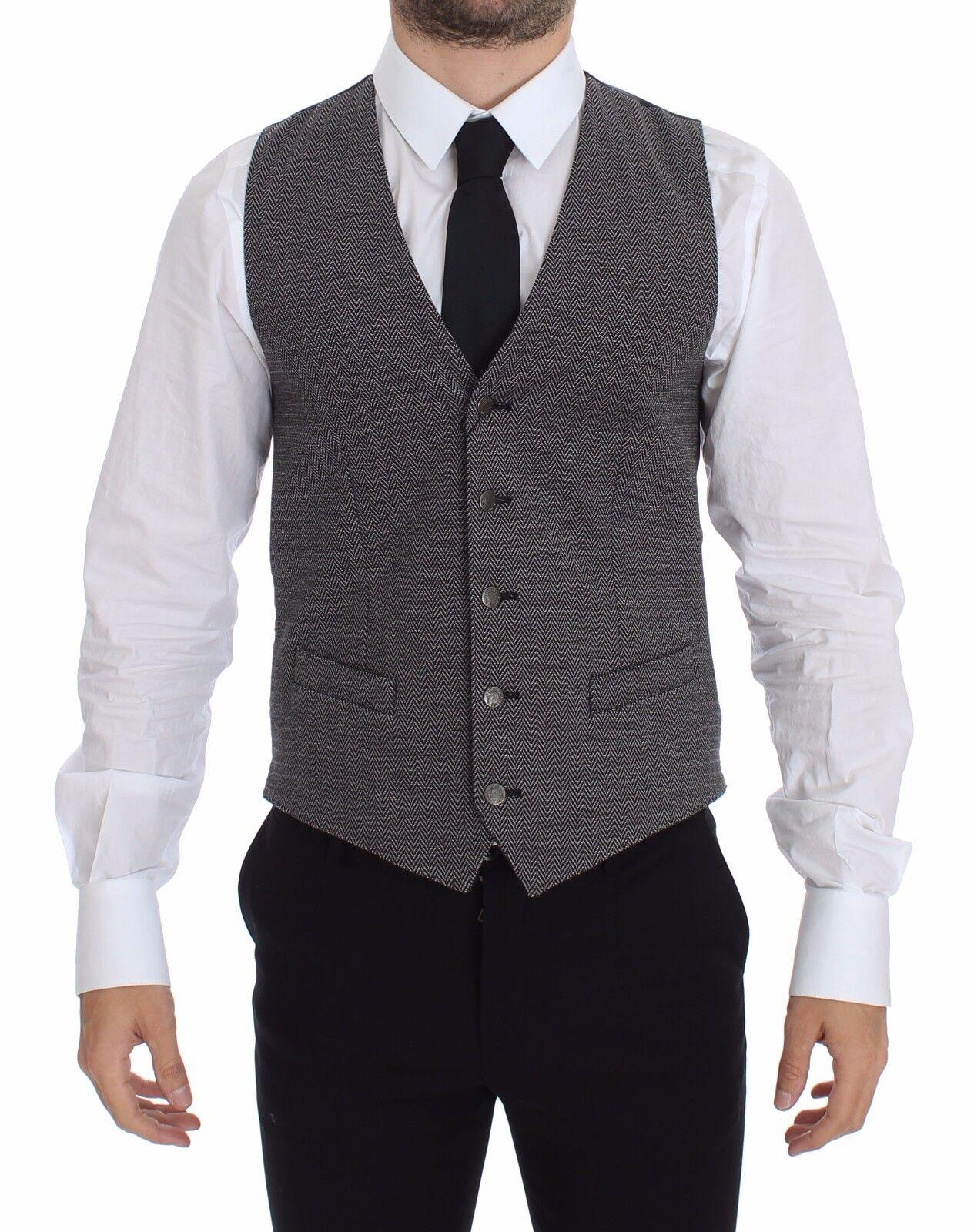 NEW 440 DOLCE & GABBANA Vest Waistcoat grau Cotton Stretch Dress IT46 /US36 / S