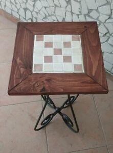 Tavolo Legno E Ferro Battuto.Dettagli Su Tavolino In Ferro Battuto Con Ripiano In Legno E Mosaico In Pietra