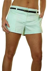 (1219-6) Ladies Sheen Cotton Sateen Hot Pants Shorts Free Belt Mint Green 8-16