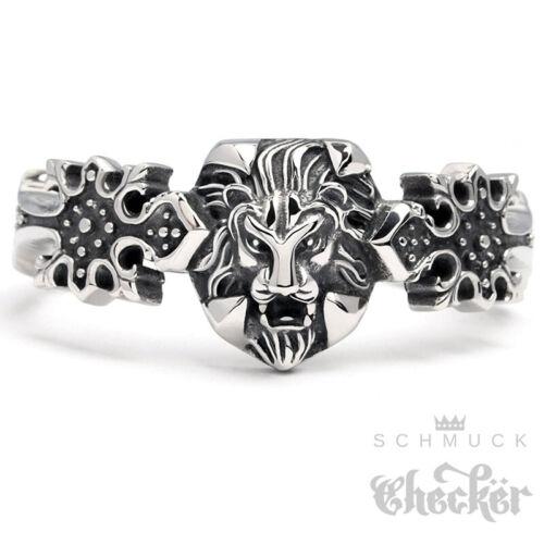 Macizo de acero inoxidable señores brazalete armspange león de plata decorado Gothic Ritter
