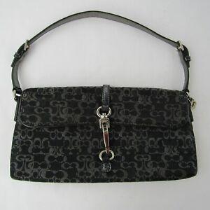 Coach-Signature-Canvas-Leather-Baguette-Handbag-Demi-Clip-Purse-Bag-GO5M-3595