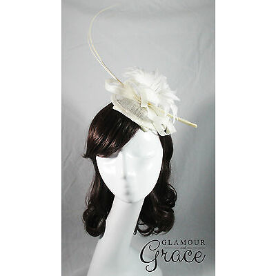 Ayla white ivory fascinator headpiece hat wedding races Melbourne Cup feathers