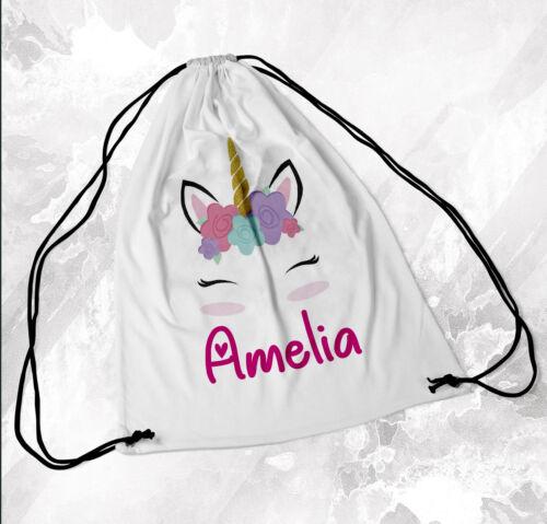 Personalised Drawstring Bag Any Name Unicorn Swimming School Nursery PE 1