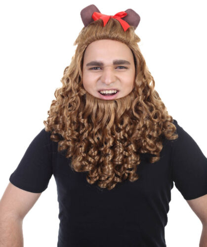 Adult Cosplay Cowardly Lion Curly Wig Ears Wizard Of Oz Beard Halloween HM-245A