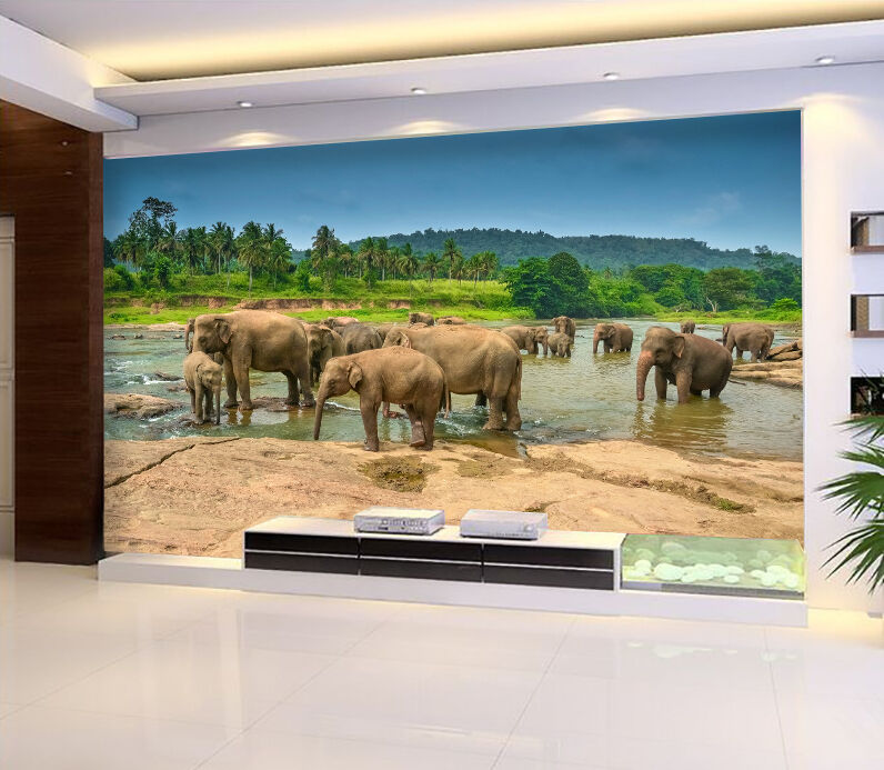3D River Elephants 73 WallPaper Murals Wall Print Decal Wall Deco AJ WALLPAPER
