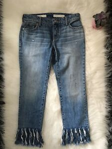 Anthropologie-PILCRO-High-Rise-Cropped-Raw-Hem-Jeans-Size-25-Boyfriend-New-C
