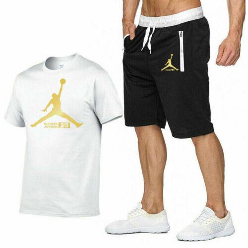 Herren Trainingsanzug Set Kurzarm T-Shirt Shorts Basketball Jogging Sportanzug