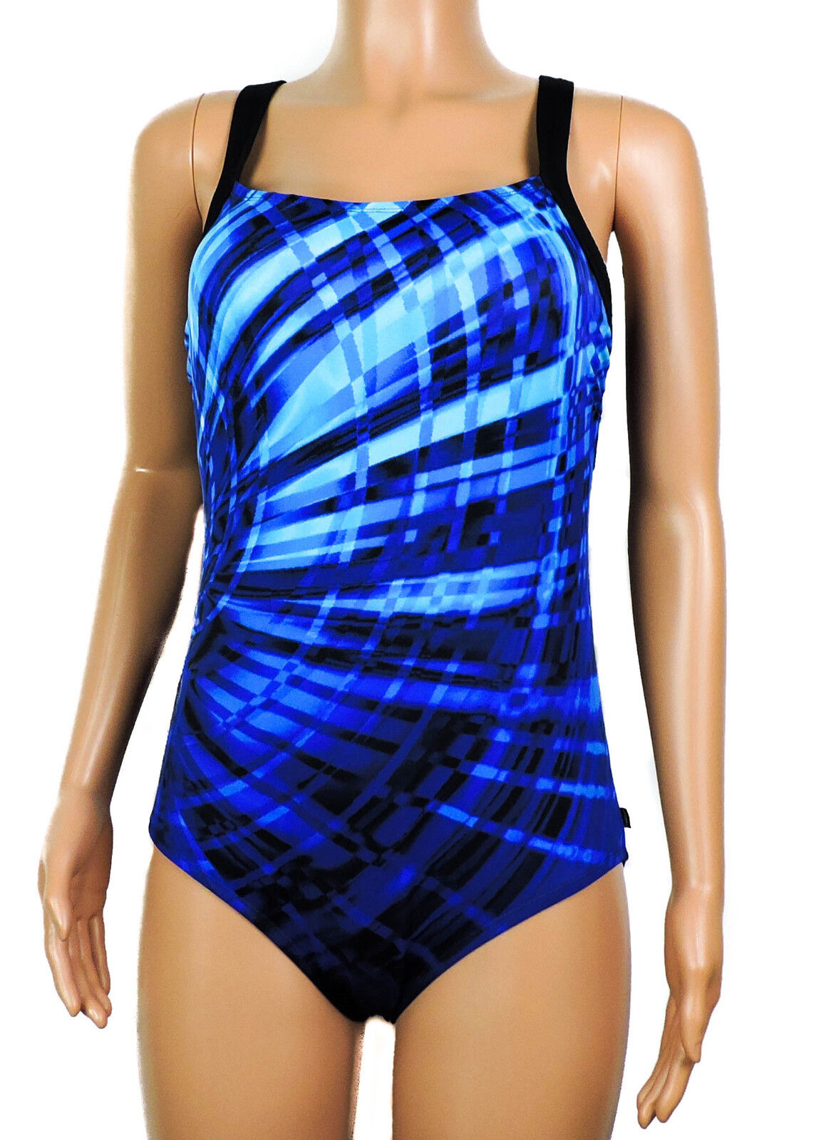 New Reebok bluee Multi Laser Focus Printed Active One PIece Swimsuit Size 14
