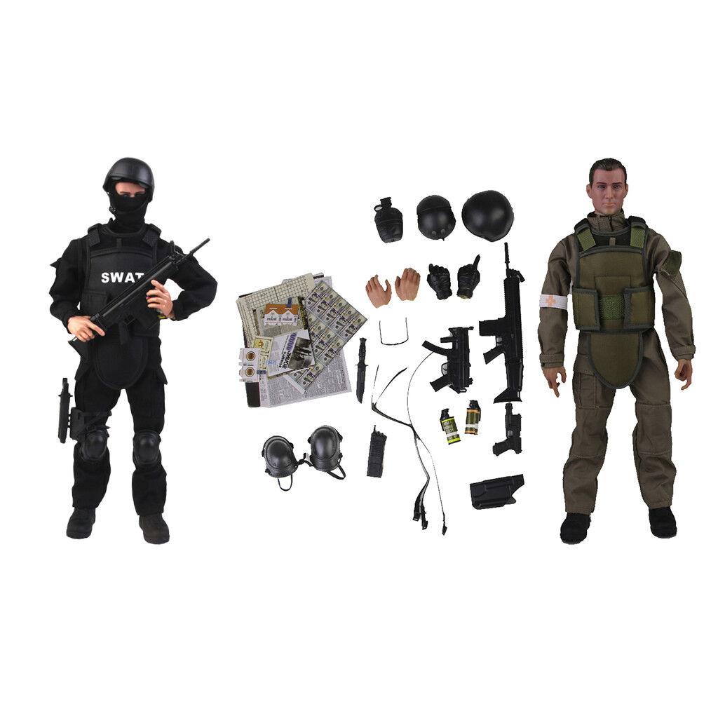 12  Acción Figura Muñeca Modelo Movible Ejército Combate Swat & Kits de soldado Medic