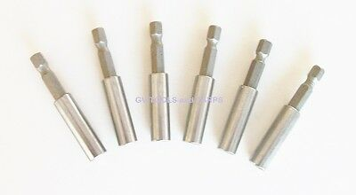 """6pc MAGNETIC 2 1/2"""" long HEX BIT HOLDER / EXTENSIONS ** Free Shipping **"""