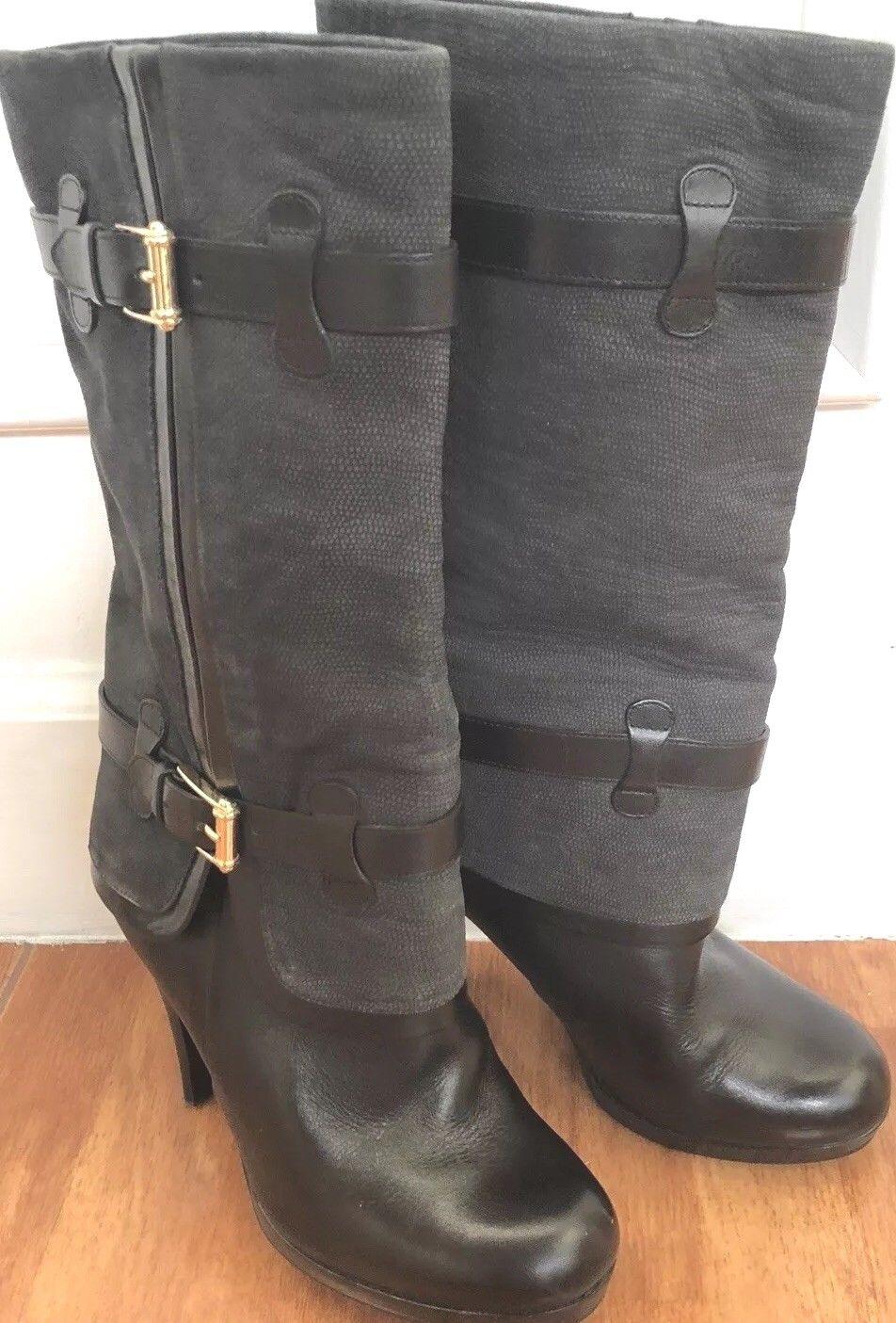 COLE HANN Bottes Noir Noir Clair Genou Femmes Chaussons femmes taille 6 B