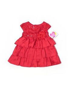 New Baby Girl Youngland Red Sequin Ruffle Christmas