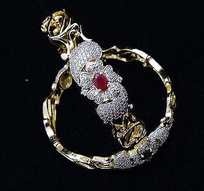 Designer 18K GP Ruby Emerald CZ Fashion Womens Bridal Bangle Bracelet Gift Set