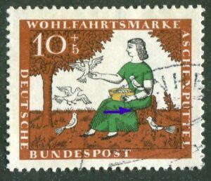 Bund-485-I-gestempelt-Plattenfehler-PF-gruener-Fleck-in-Rockfalten-Michel-80