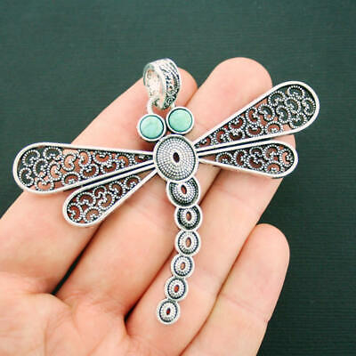 2 x Large Tibetan Silver Dragonfly /& Faux Turquoise Charms Necklace Pendants