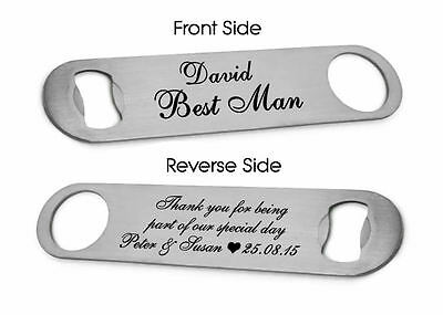 Personalised Steel Bottle Opener Best Man Usher Wedding Favour Thank You Gift