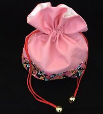Japanese pink kinchaku drawstring kimono bag, imported from Japan (Q922)